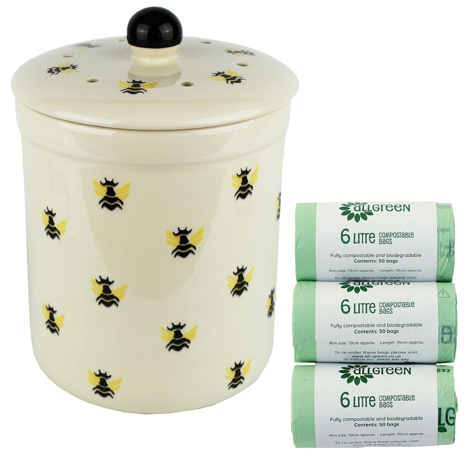 3L Haselbury Honey Bee Ceramic Compost Caddy Food Bin & 150x6L Bags