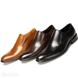 Sz 38-47 Formal Dress Men s Pull On Low Chunky Wedding Leather ... 23629f8ecc1