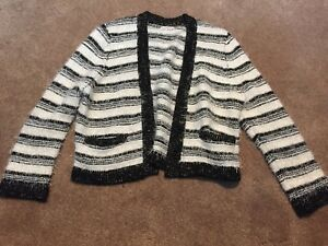 a3088323b2b Details about Womens Calvin Klein White Black Striped Eyelash Fuzzy  Cardigan Sweater Large
