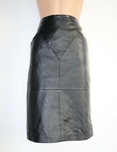 Women-039-s-Vintage-High-Waist-Straight-Black-100-Leather-Skirt-Size-40-UK12