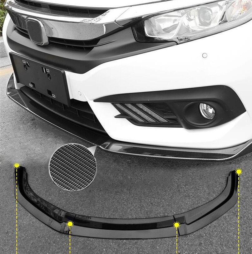 new for honda civic 2016 2018 carbon fiber front bumper lip cover trim 3pcs ebay. Black Bedroom Furniture Sets. Home Design Ideas