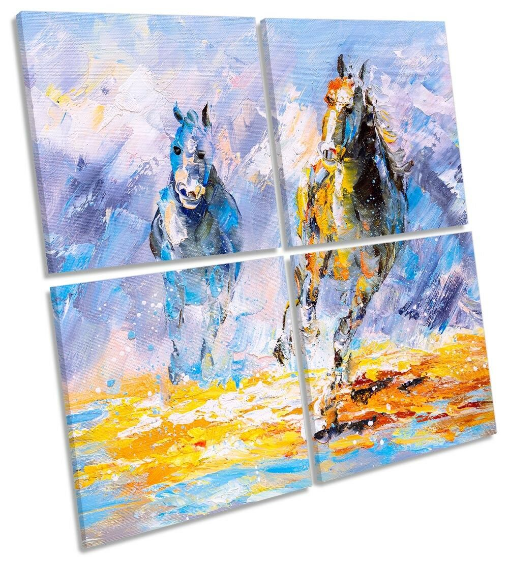 Horses Galloping Blau Repro MULTI CANVAS WALL ARTWORK Square Art