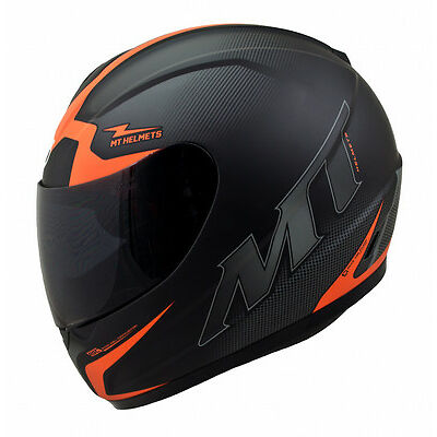 MT Thunder Squad Motorcycle Helmet Matt Black Orange Motorbike Crash Lid Scooter