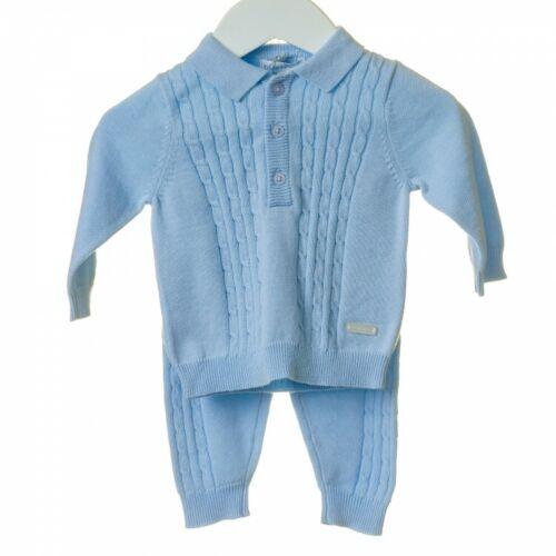 Impresionante Bebé Niño Azul Cable de punto manga larga de punto cuello traje Puro Algodón