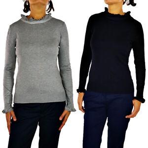 Maglione Donna Volant Casual Cardigan Invernale Con Fiocco Pullover Mezzo Collo