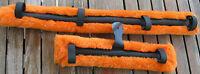 Miniature Mini Horse Donkey Fleece Cart Buggy Harness Driving Saddle Pads Orange
