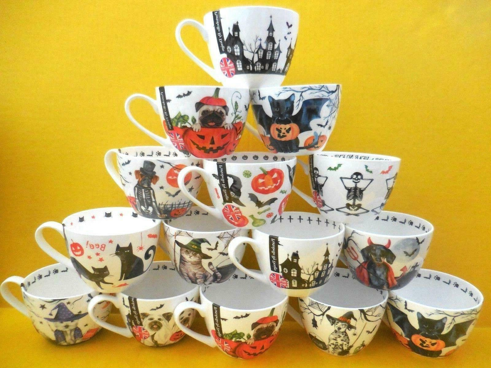 Portobello By Design Haunted Bat Cat Spider Halloween Large Mug Cup Bone China For Sale Online Ebay