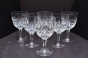 SET-6-Stuart-Clifton-Park-Crystal-Water-Goblets-Glasses-wine-Thumbprint-Vertical