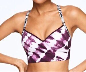 Tie-Dye Women\u2019s Sports Bra Size 36 Purple Lilac Splatter