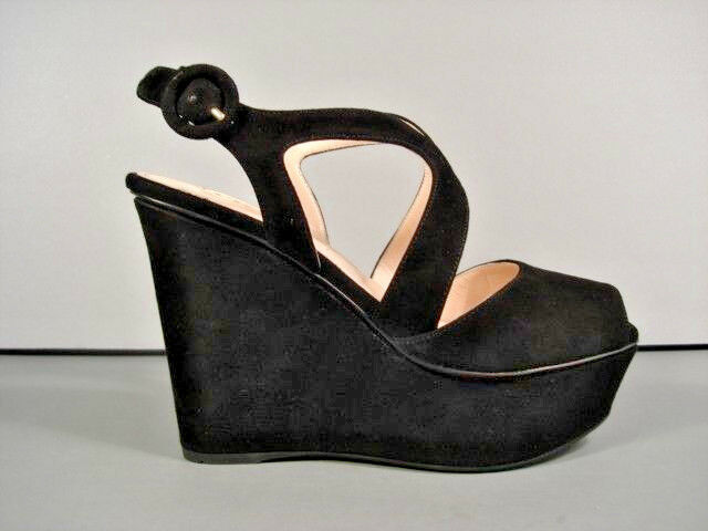 PRADA 35 5 BLACK SUEDE WEDGE PLATFORM STRAPPY SANDALS SHOES RUBBER SOLE NEW  856