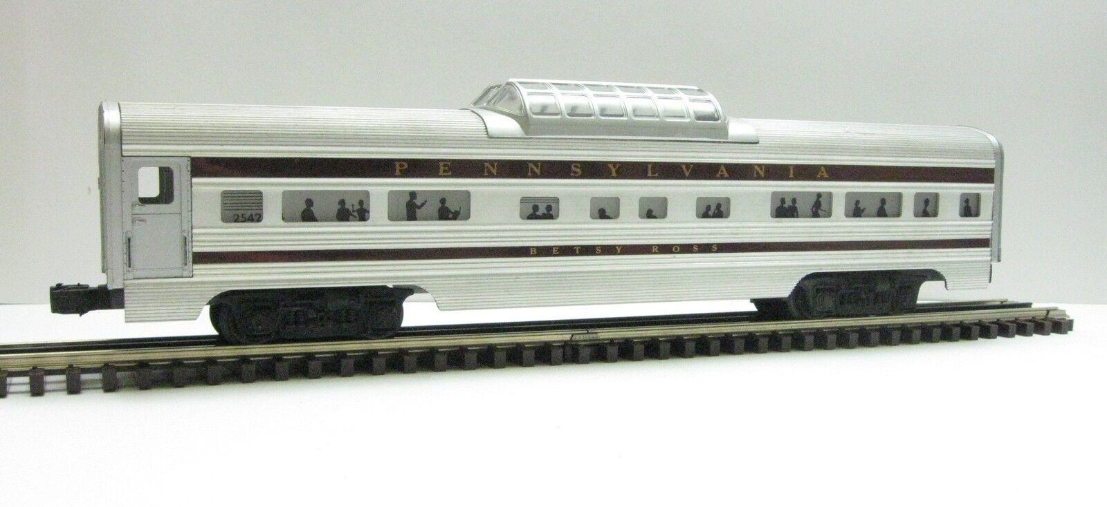Lionel 2542 O Gauge Betsy Ross Vista Dome Aluminum Passenger Car (2542B)