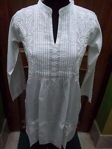 AgréAble 3xs L Xl 2xl Ethnique 100% Coton Chikan Embroidery Top Handmade Kurta Kurti Tunique-afficher Le Titre D'origine