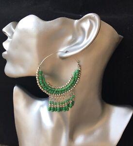 BohoCoho Quirky Boho Gypsy Festival Silver /& Green hoop dangle earrings