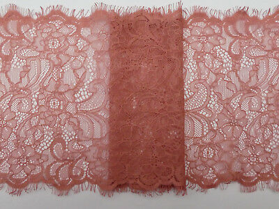 10 yards Beige SOFT  Double Scalloped Shiny Floral Stretch Lace Trim 2.75/""