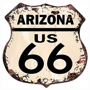 Bp 0037 Arizona Us 66 Shield Rustic Chic Sign Bar Store Shop Home