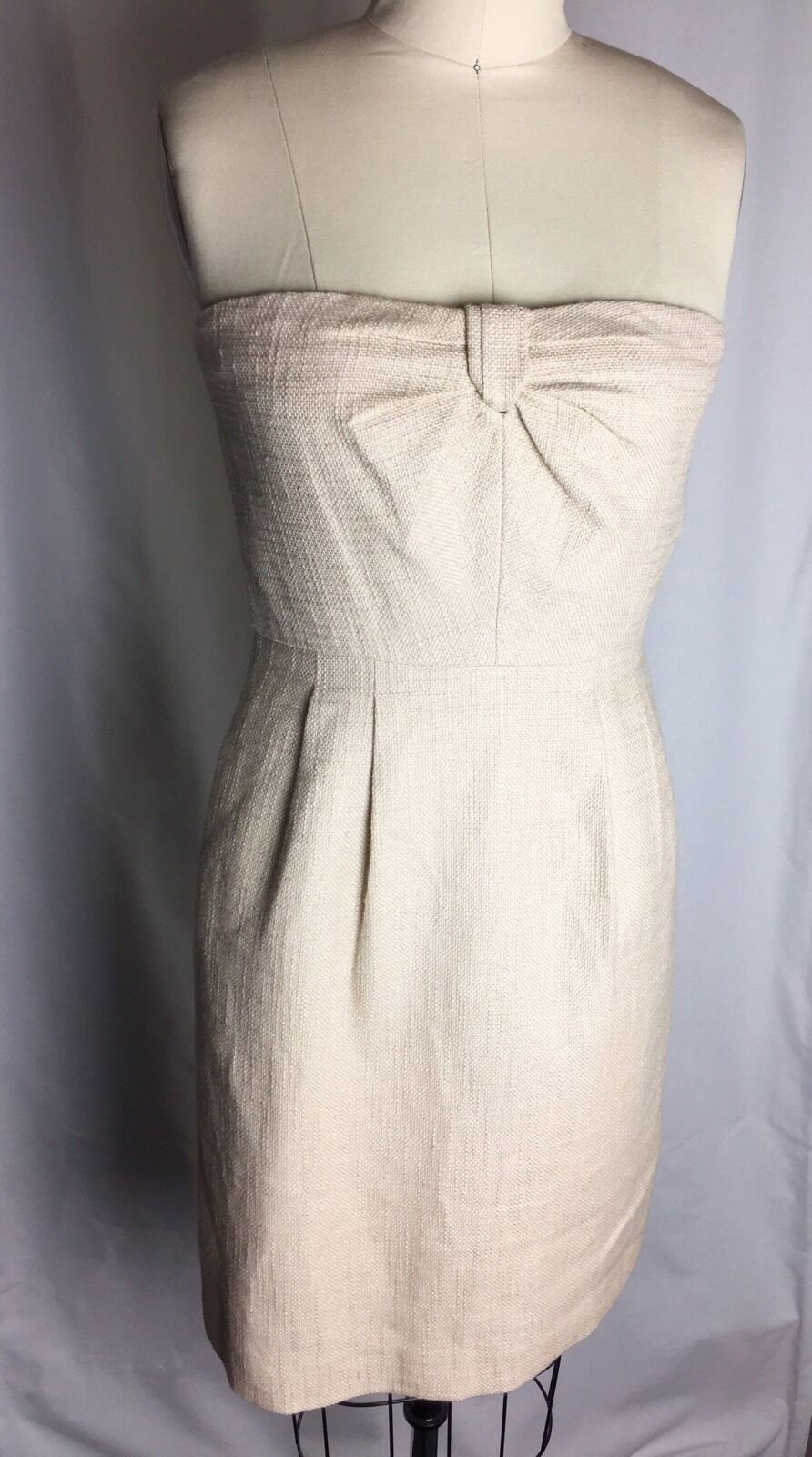 NWOT J CREW gold & Baige Linen Strapless Dress Size 4 Metallic
