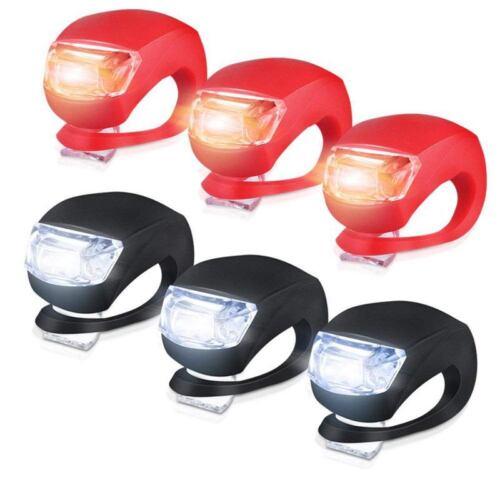 Silicone Light Bike Lamp 6 pcs LED Bike Light Set 3x LED White /& 3x LED r R9G7