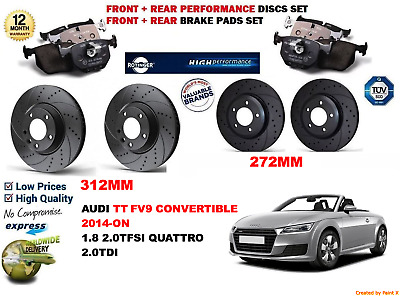 Front Brake Pads Brake Discs 312mm Vented Fits Audi TT Roadster 1.8 T quattro