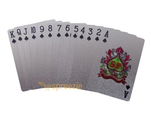 Silver Playing Cards Foil Plated Full Deck Poker $100 Bill Benjamin Franklin New