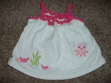 Gymboree Girls Baby Seahorse Pink White Tank Top Shirt Size 6-12 months Summer