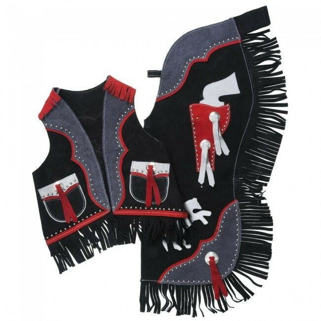 Premium Youth Chap and Vest Set with Gun Design - Large - NWT - 63-2862 -