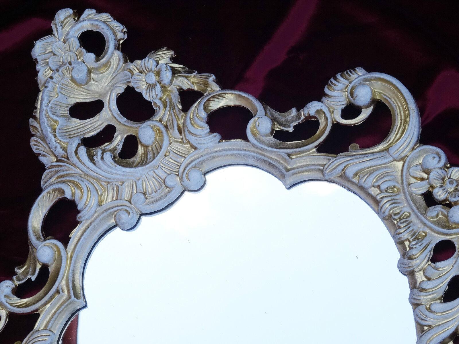 Arte Y Antigüedades Espejos Barockspiege Espejo De Pared En Repro Antiguo Barroco Estilo Moderno Oro Blanco