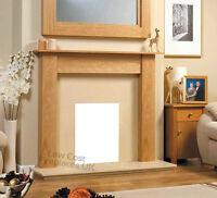 Electric Oak Cream Marble Effect Flat Wall Surround Modern Fire Fireplace Suite