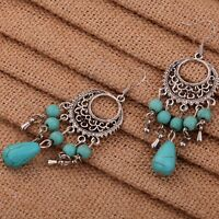 Tibet Silver Flower Shape Hollow Out Turquoise Beads Chain Dangle Hook Earrings