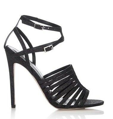 6 LITTLE MISTRESS SHOE SANDAL BLACK GLITTER STRAPPY HEELED Size 4 8 5