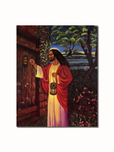 African American Black Jesus Knocking at Your Door Wall Picture 8x10 Art Print