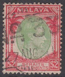 Straits-Settlements-KGVI-2-Green-amp-Scarlet-SG291-Used-1938-Malaya