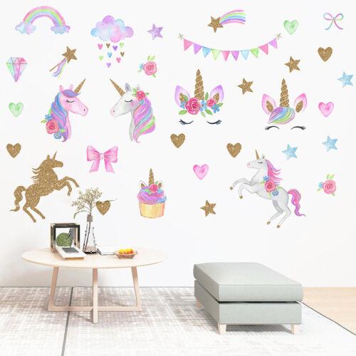 Rainbow Unicorns star shape Horse Wall Stickers for Bedroom pvc Animal Decal F4