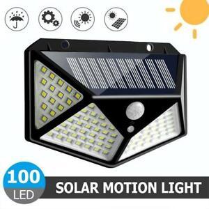 100-LED-Solarleuchte-Solarlampe-Bewegungsmelder-Aussen-Fluter-Sensor-Strahler