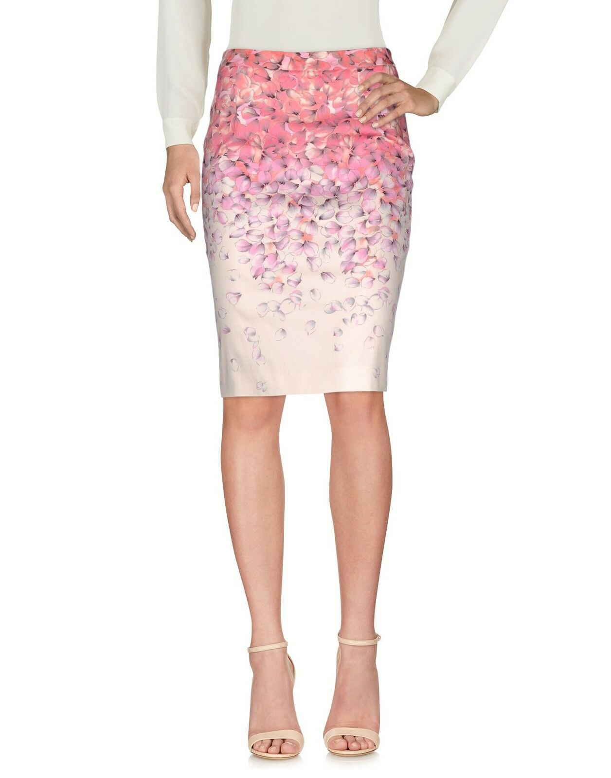 Brand new blueMARINE Pencil Skirt -Pink Floral Pattern - Italian 46  US 12