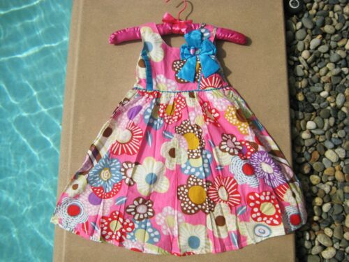 DKNY Hot Pink Girls Adorable Flower Dress Turquoise Bow 2T 3T 4T 5 6 6X