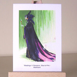 ACEO-art-card-Maleficent-with-a-PINK-gown-Sleeping-Beauty-WDCC-drawing