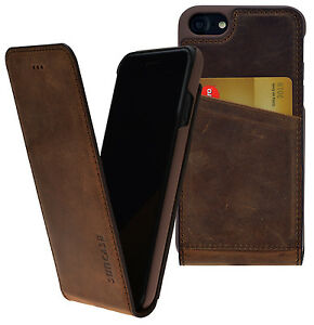 iPhone-7-8-Exklusive-Flip-Style-Ledertasche-Slim-Case-Tasche-Huelle-Coffee