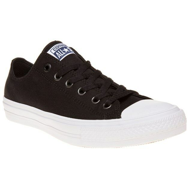 New Mens Converse Black Chuck Taylor All Star II Low Canvas Trainers Lace Up