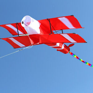 3D-Single-Line-Red-White-Kites-Outdoor-Fun-Sports-Beach-kite-with-red-tail-NEW