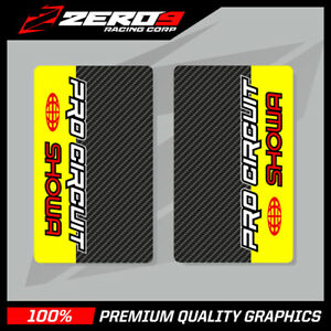 SHOWA-UPPER-FORK-DECALS-MOTOCROSS-GRAPHICS-MX-PROCIRCUIT-CARBON-YELLOW-RED