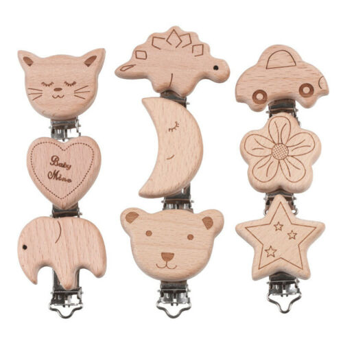 Natural wood cartoon pacifier clip DIY baby molar teether chain toy accessories/&