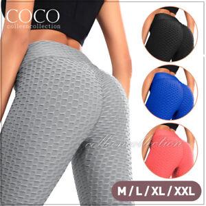 Womens Yoga Pants Leggings Butt Lift Sports Gym Fitness Anti Cellulite Trousers