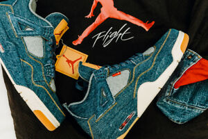a7af6f733a9f73 2018 Nike Air Jordan 4 Retro NRG LEVIS SZ 8.5 Denim Game Red TZ OG ...