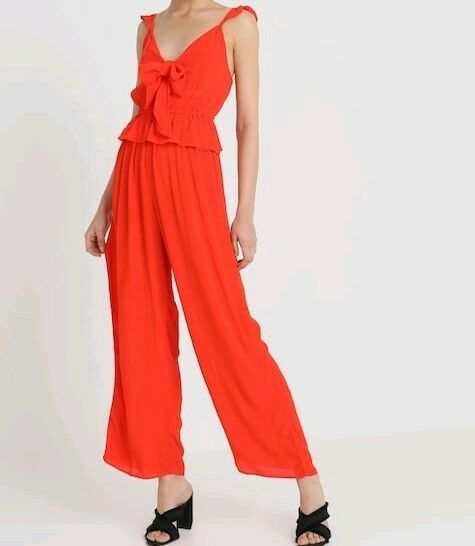 Bnwt River Island Women's Red Bella Bow Jumpsuit RRP .99