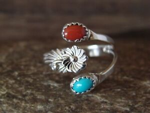 Native-American-Jewelry-Sterling-Silver-Coral-amp-Turquoise-Adjustable-Ring