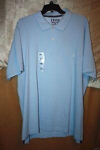 IZOD-Heritage-100-Cotton-Polo-Golf-Shirt-Size-M-Short-Sleeve-Powder-Blue-NEW