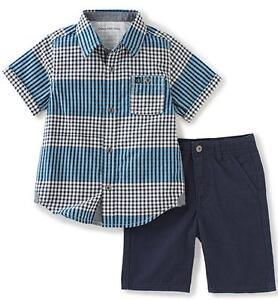 94ab9701 Calvin Klein Baby Boys' 2-Pc Plaid Woven Shirt & Twill Short Set ...