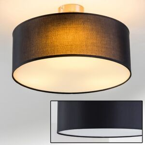 deckenleuchte deckenlampe stoff lampe leuchte deckenstrahler schwarz 3 fl 40 cm ebay. Black Bedroom Furniture Sets. Home Design Ideas