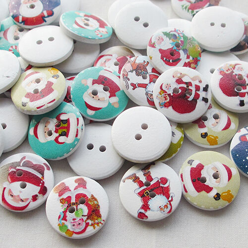 E639 10//50pcs Santa Christmas Claus Wood Buttons 20mm Sewing Mix Lots