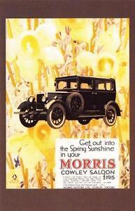 Postcard-Nostalgia-March-1930-Morris-Cowley-Saloon-Advertisement-Repro-Card